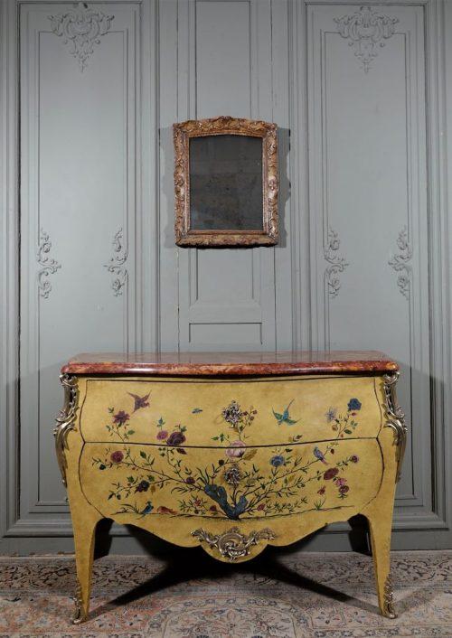 commode fond jonquille de style louis xv antiquites andelle
