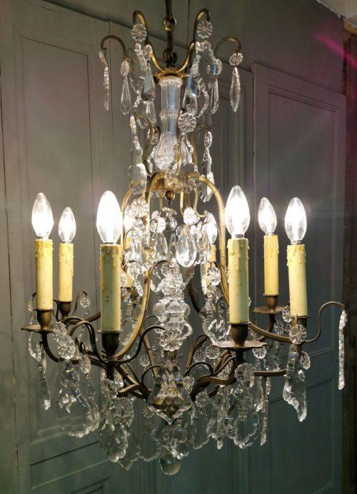lustre antiquités andelle cage à pampilles